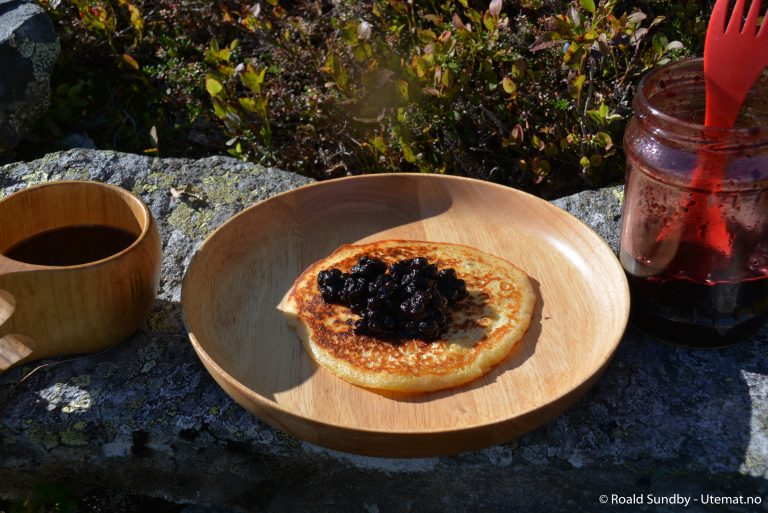 Lapper med nyrørte blåbær